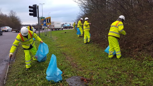 Our teams clear litter from the A41