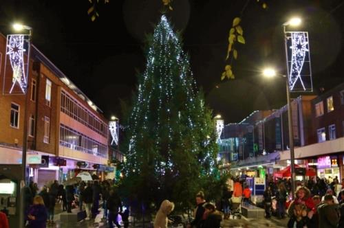Christmas tree lights up New Town Square in Marlowes, Hemel Hempstead