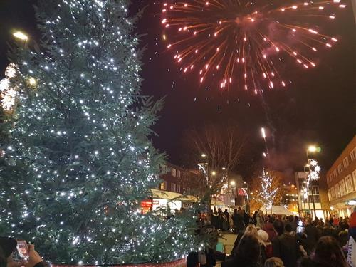 Fireworks finale and Christmas lights at the Christmas Live event in Hemel Hempstead