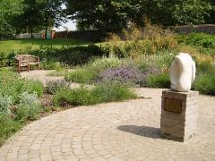 The SANDS memorial garden for babies and the hugging statue